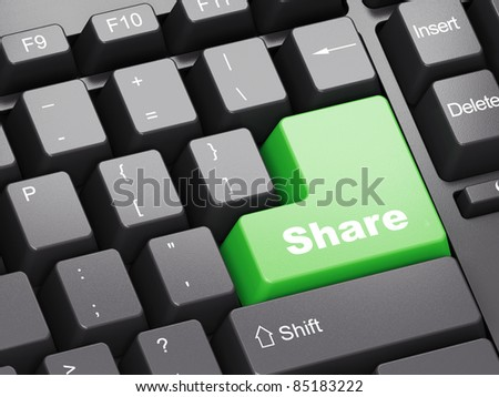 Black keyboard with green Share button - stock photo