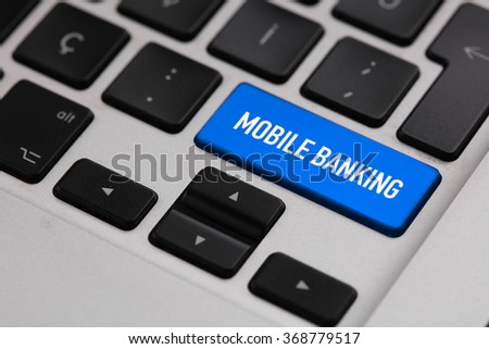 Black keyboard with MOBILE BANKING button - stock photo