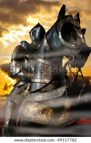 Black Knight, sunset, smoke - stock photo