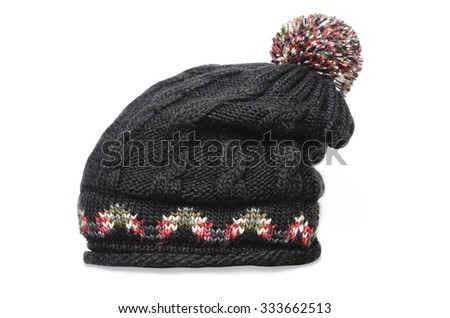 black knitted cap isolated on white - stock photo