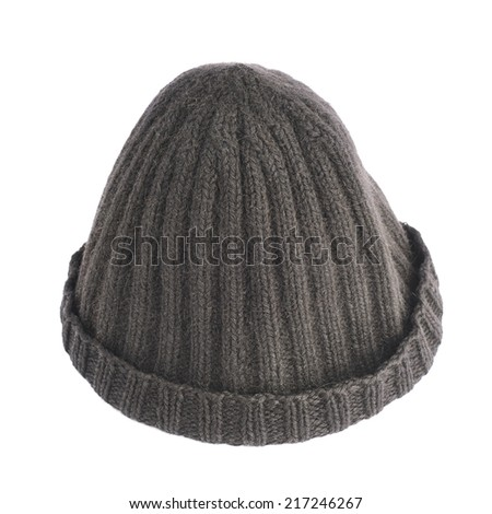 Black knitted head cap isolated over the white background - stock photo