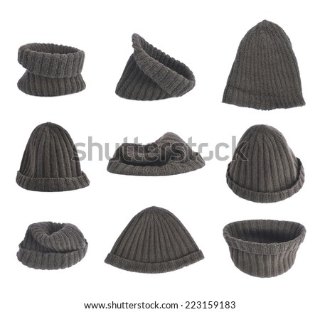 Black knitted head cap isolated over the white background, set of nine different foreshortenings - stock photo