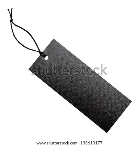 Black label with string, isolated on the white background, clipping path included. - stock photo