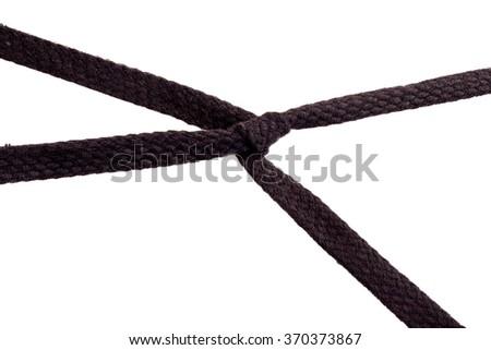black laces on white background - stock photo
