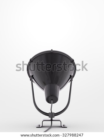 Black lamp over the white background 3d render - stock photo