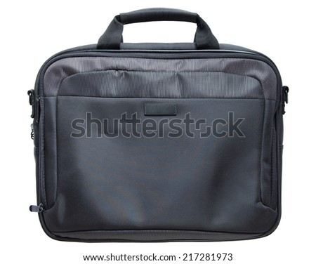 black laptop bag isolated on white background with clipping path - stock photo