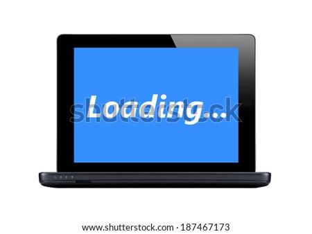 Black laptop isolated on white background - stock photo