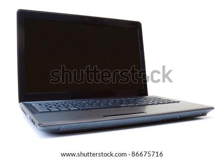 Black laptop open on a white background. - stock photo