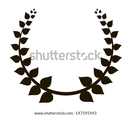 black laurel wreath illustration - stock photo