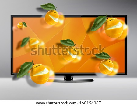 Black LCD tv screen with  three dimensional view .  (with clipping work path) - stock photo