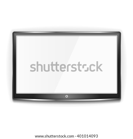 Black LCD TV with metallic frame and white screen on white background - stock photo