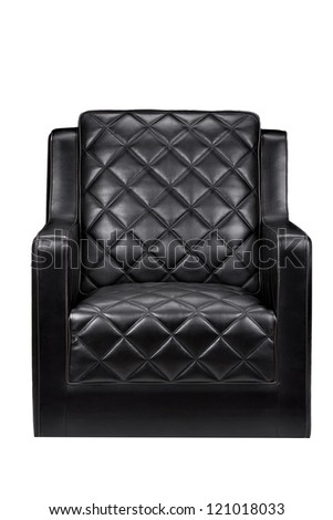 black leather armchair - stock photo