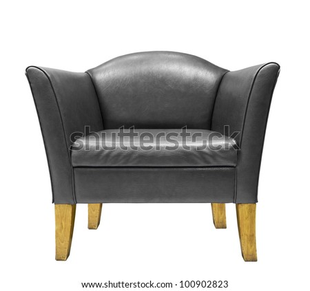 Black leather armchair isolated on white background - stock photo