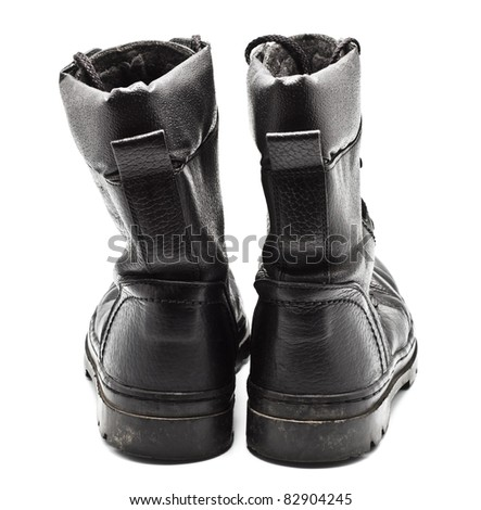 Black Leather Army Boots - stock photo