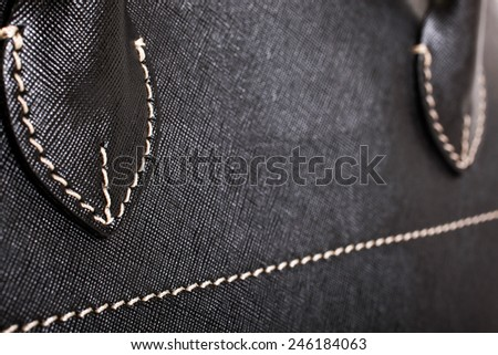 Black Leather Bag Close up - stock photo