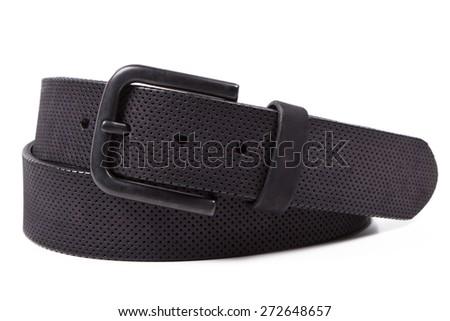 black leather belt - stock photo