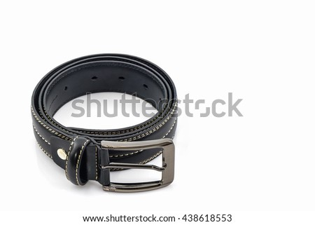 Black leather belt for men on white background. - stock photo