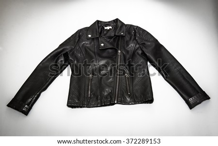 Black leather biker jacket - stock photo