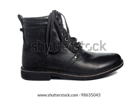 Black leather boot - stock photo