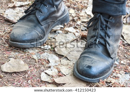 black leather boots - stock photo