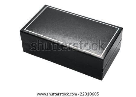 black leather box on white - stock photo