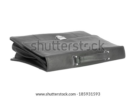 Black leather briefcase. Isolated on white background - stock photo
