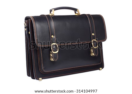 Black leather briefcase isolated on white background - stock photo