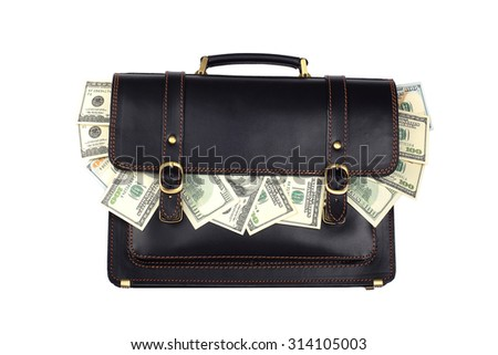 Black leather briefcase with dollars isolated on white background - stock photo