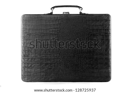 Black Leather Carrying Case on white background - stock photo