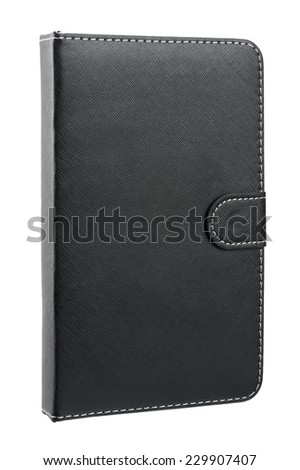 Black leather case for tablet isolated on white background - stock photo