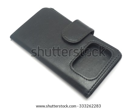 Black Leather Case for the mobile phone on a white background - stock photo