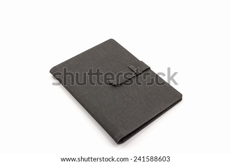 Black leather case on white background - stock photo