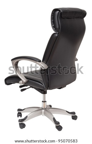 black leather chair isolated on white - stock photo