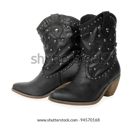 Black leather cowboy boots - stock photo