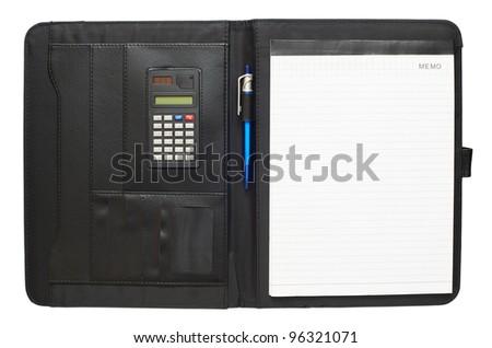 Black leather folder - stock photo