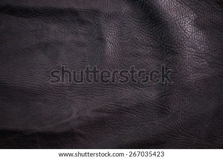 Black Leather for Concept and Idea Style of Fine Leather Crafting, Handcrafts Workspace, Handmade or Handcrafted Leather Worker. Background Textured and Wallpaper. Vintage Rustic. Close up Full frame. - stock photo