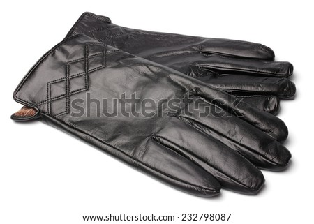 Black leather gloves on white background - stock photo