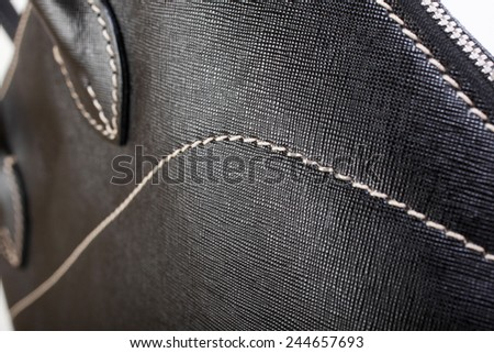 Black Leather Handbag - stock photo