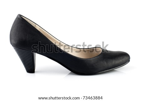 Black leather high heels pumps on white background - stock photo