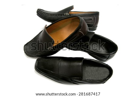 Black leather man shoes isolated on white background - stock photo
