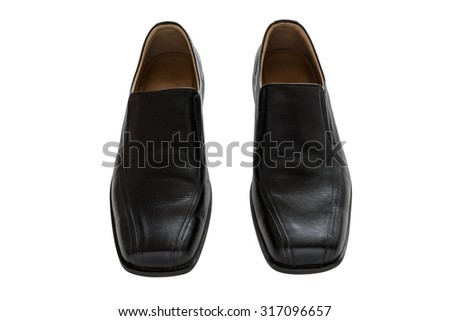 Black leather men's shoes isolated on white background, with clipping path - stock photo