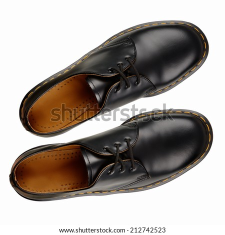 Black leather men shoes on white background. With clipping path - stock photo