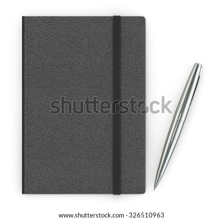 Black leather notebook and a silver pen on a white background. - stock photo