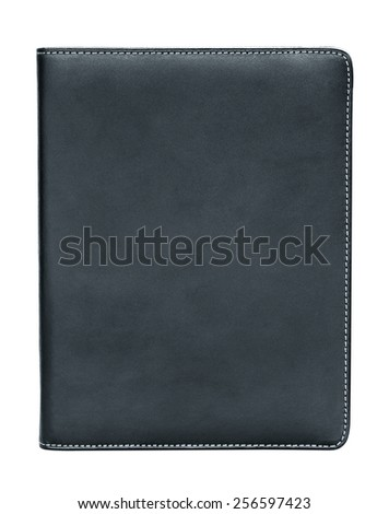 black leather notebook isolated on white background - stock photo