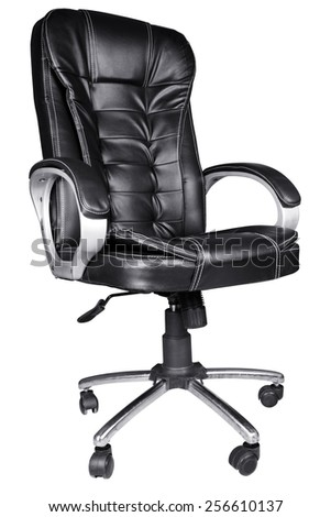 Black Leather Office Chair isolated on white background - stock photo