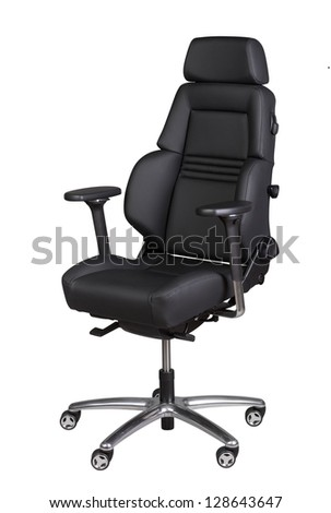 Black leather office chair isolated on white. Path included. - stock photo
