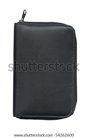 Black leather organizer isolated with clipping path over white background - stock photo
