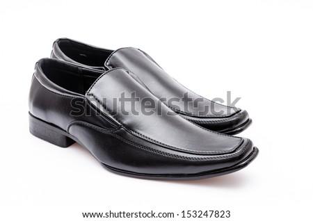Black leather shoe - stock photo