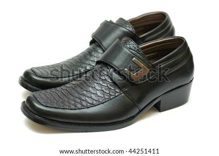 Black leather shoes - stock photo
