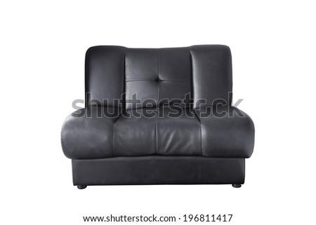 Black leather sofa isolated on white background - stock photo